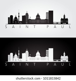 Saint Paul usa skyline and landmarks silhouette, black and white design, vector illustration.