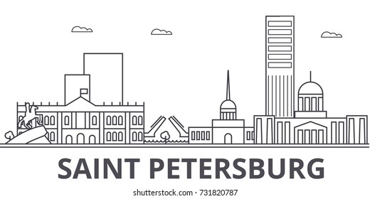 Saint Petersburg architecture line skyline illustration. Linear vector cityscape with famous landmarks, city sights, design icons. Landscape wtih editable strokes