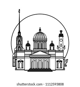 Saint Petersburg black contour outline cityscape. Vector set for travel infographics. Perfect to use for printing on tshirts, mugs, caps, logos, mascots or other advertising and web design projects