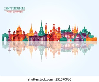 Saint Petersburg detailed city skyline. Vector illustration