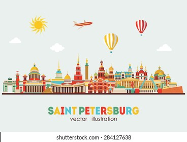 Saint Petersburg detailed skyline. Vector illustration
