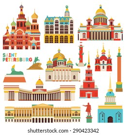 Saint Petersburg famous monuments . Vector illustration