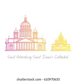 Saint Petersburg Isaakievskiy sobor (Isaac's Cathedral) line art illustration in two sizes