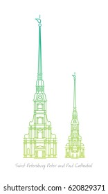 Saint Petersburg Peter and Paul Cathedral line art vector illustration