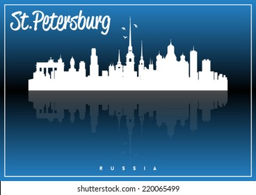 Saint Petersburg, Russia, skyline silhouette vector design on parliament blue and black background.