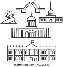 saint petersburg, russia vector line icon, sign, illustration on background, editable strokes
