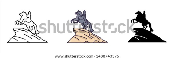 Saint Petersburg sigtseeing and landmark - glyph icons, outline and colored flat signs, statue of the emperor Peter the Great, monument to the rider, the cultural capital of Russia, vector