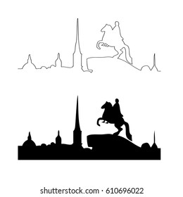 Saint Petersburg silhouette. Vector black outline illustration of panorama with the bronze horseman monument, spires and dome