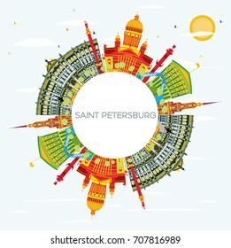 Saint Petersburg Skyline with Color Buildings, Blue Sky and Copy Space. Vector Illustration. Business Travel and Tourism Concept. Image for Presentation Banner Placard and Web Site.