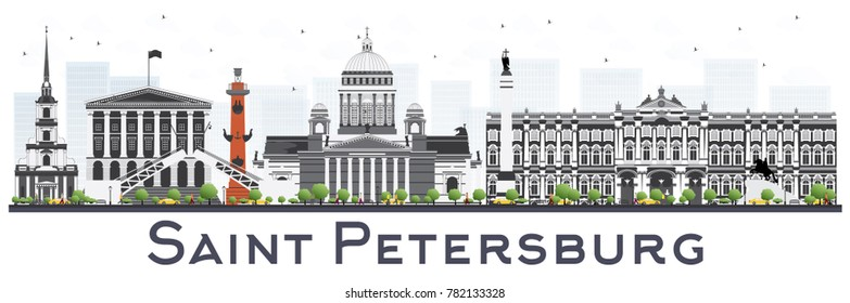 Saint Petersburg Skyline with Color Buildings Isolated on White Background. Vector Illustration. Business Travel and Tourism Concept. Saint Petersburg Cityscape with Landmarks.