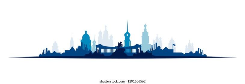 Saint Petersburg skyline graphic in shades of blue.