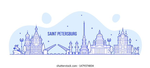 Saint Petersburg skyline, Russia. This illustration represents the city with its most notable buildings. Vector is fully editable, every object is holistic and movable
