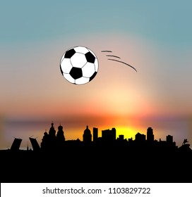 Saint Petersburg vector skyline with football ball
