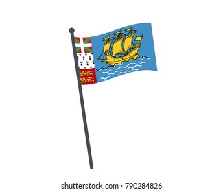 Saint Pierre and Miquelon flag. The national flag of Saint Pierre and Miquelon on a pole. The waving flag. The sign and symbol of the country. Realistic vector on white.