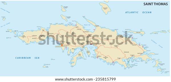 Saint Thomas Us Virgin Islands Map Stock Vector (Royalty ...