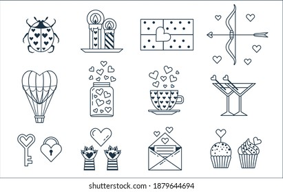 Saint Valentine Day icon set. Feast of St Valentine happy 14 february line icons with cute cat's paws, jar of hearts, bow with love arrow, air balloons, muffins, candles and ladybug.