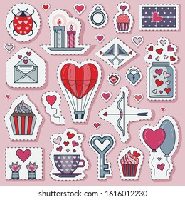 Saint Valentine Day love sticker set. Feast of St Valentine line labels, happy 14 february icons with cute cat's paws, jar of hearts, bow with love arrow, air balloons, muffins, candles and ladybug.