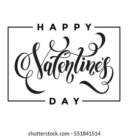 Saint Valentine vector heart calligraphy text for greeting card with black frame on white background. Valentines day 14 February love congratulation design
