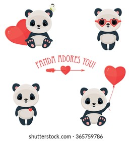"""Saint Valentine's Day cute web icons. Panda in love. Cute asian bear, arrow and heart. Text """"Panda adores you"""". Eps 10"""