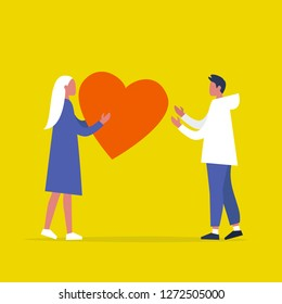Saint Valentines Day. One young character sending a big red heart to another. Relationships. Love. Romance. Emotions. Flat editable vector illustration, clip art