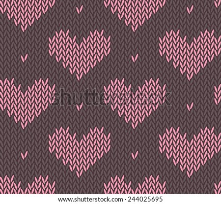 Saint Valentines Day Seamless Knitting Pattern Stock Vector Royalty