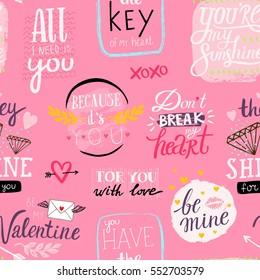 Saint Valentine's day seamless vector pattern with hand written love messages
