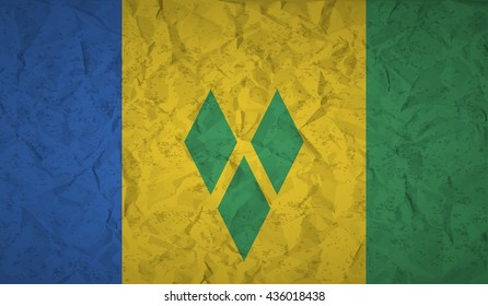 Saint Vincent flag with the effect of crumpled paper and grunge