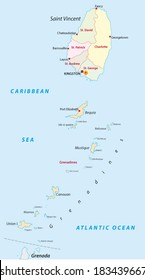 saint vincent and the grenadines administrative map