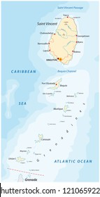 saint vincent and the grenadines vector map