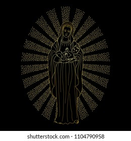 Saint virgin Mary holding baby Jesus Christ. Golden Christmas vector pattern, textile print.