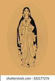 Saint Virgin Mary on beige background