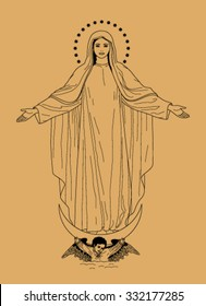 Saint Virgin Mary on beige background