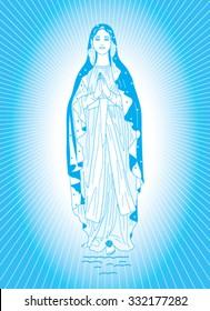 Saint Virgin Mary on blue background