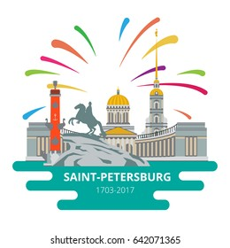 Saint-Petersburg flat cityscape to the day of the city. Vector set for travel infographics. Use this vector illustration for design your website or print publications.