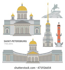 Saint-Petersburg flat cityscape. Vector set for travel infographics. Use this vector illustration for design your website or publications.