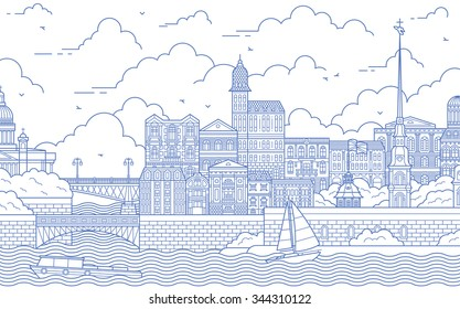 Saint-Petersburg line art illustration