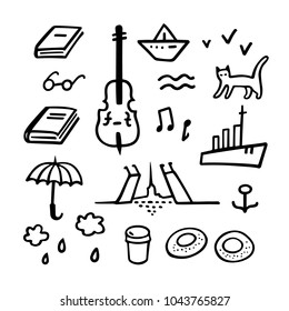 Saint-Petersburg set. Vector hand drawn illustration of SPb symbols and sights. Cute sketches for souvenir decoration or tourist postcard