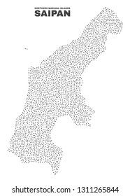 Saipan Island map designed with small points. Vector abstraction in black color is isolated on a white background. Random small points are organized into Saipan Island map.