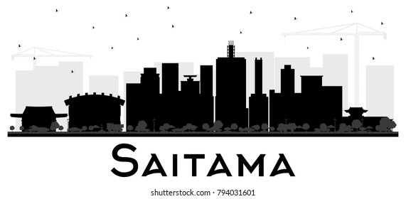 Saitama Japan City Skyline Black and White Silhouette. Vector Illustration. Simple Flat Concept for Tourism Presentation, Placard. Business Travel Concept. Saitama Cityscape with Landmarks.