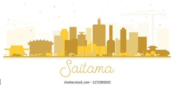 Saitama Japan City Skyline Silhouette with Golden Buildings Isolated on White. Vector Illustration. Business Travel and Tourism Concept with Modern Architecture. Saitama Cityscape with Landmarks.