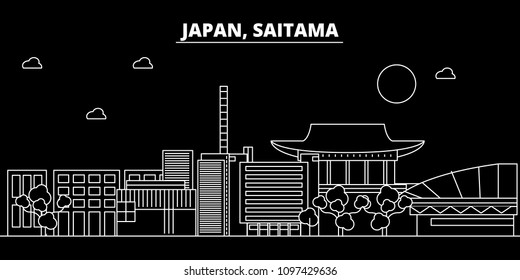 Saitama silhouette skyline. Japan - Saitama vector city, japanese linear architecture, buildings. Saitama travel illustration, outline landmarks. Japan flat icon, japanese line banner