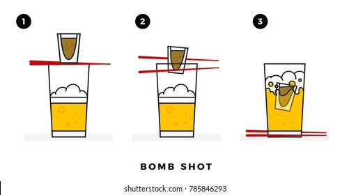 Sake Bomb Shot Process. Shot Glass falling in Beer Glass. Vector illustration of shot glass, chopsticks and beer glass.