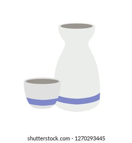 Sake bottle and cup emoji vector rice