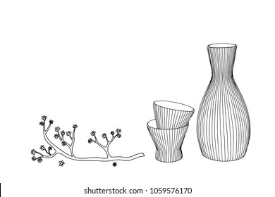 Sake glass, bottle and japan. Vector hand drawn illustration of bottle of sake in ink hand drawn style.