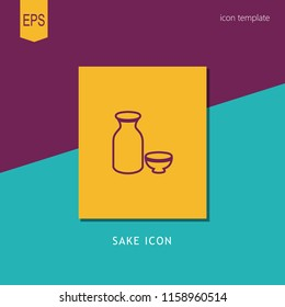 sake icon. vector sake icon on yellow background