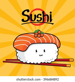 Sake Nigiri Sushi cartoon, Sushi cartoon character on white background, Japan food, Japanese food, food