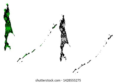 Sakhalin Oblast (Russia, Russian Federation, Oblasts of Russia) map is designed cannabis leaf green and black, Sakhalin and the Kuril Islands map made of marijuana (marihuana,THC) foliage