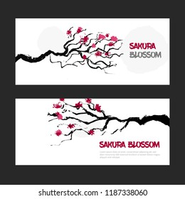 Sakura blossom banner set. tree branches with flowers cards. Japan cherry greeting design