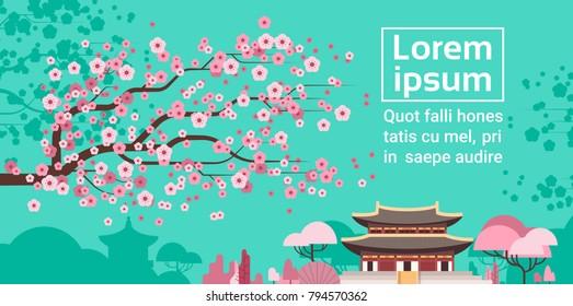 Sakura Blossom Over Korea Temple Or Palace Landscape South Korean Famous Landmark View Flat Vector Illustration