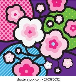 Sakura. Blossom tree. Cherry blossom. Japan. Modern Pop-art illustration for your design.